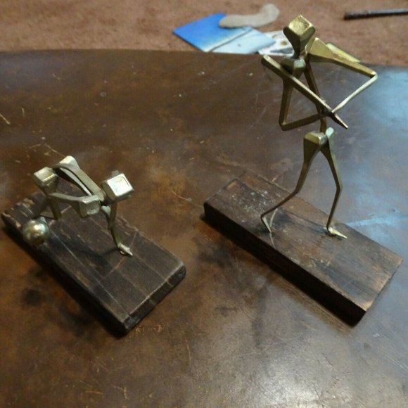 Vintage Other - Vtg Brutalist Welded Nail Modernist Sculptures